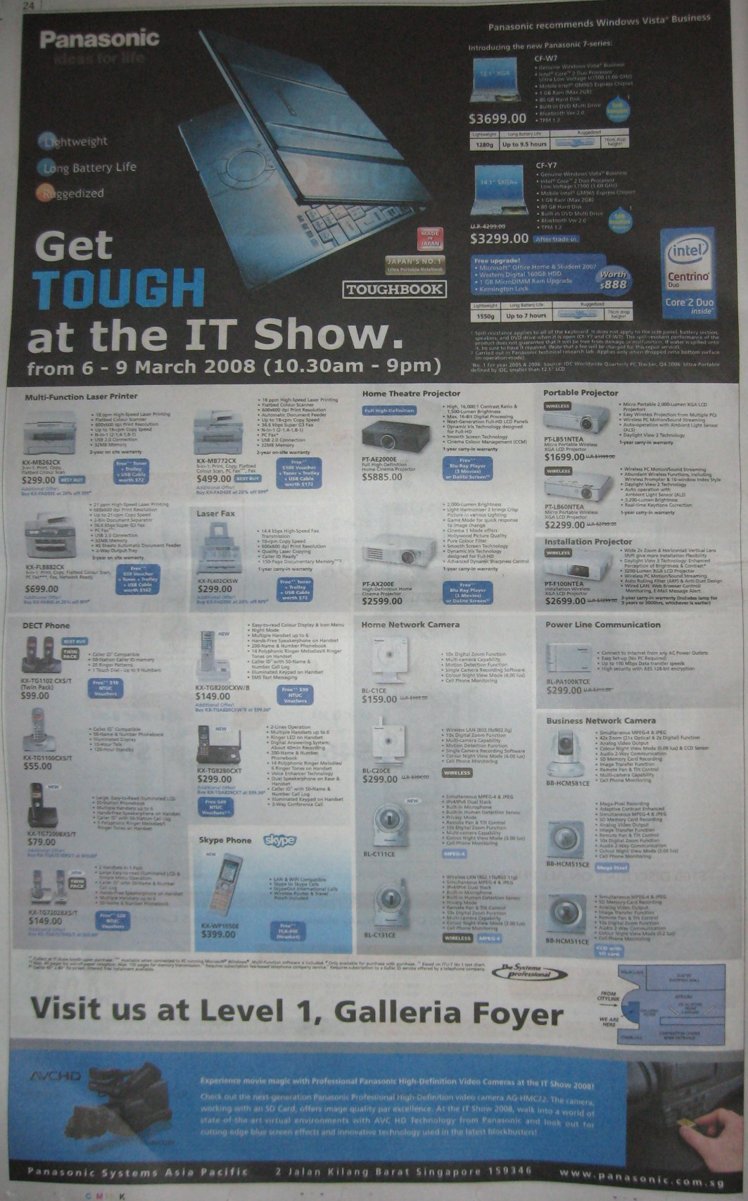 IT Show 2008 price list image brochure of Panasonic Printer Projector DECT Phone Camera Powerline
