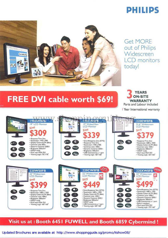 IT Show 2008 price list image brochure of Philips LCD Monitors 190SW8FB 190CW8FB 220Ew8FB 220WS8FB 220CW8FB 220XW8FB