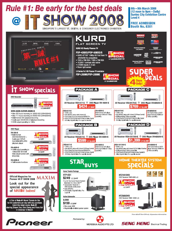 IT Show 2008 price list image brochure of Pioneer Kuro Plasma TV DVD Recorder AV Player Home Theatre HTP HTZ DV DVR