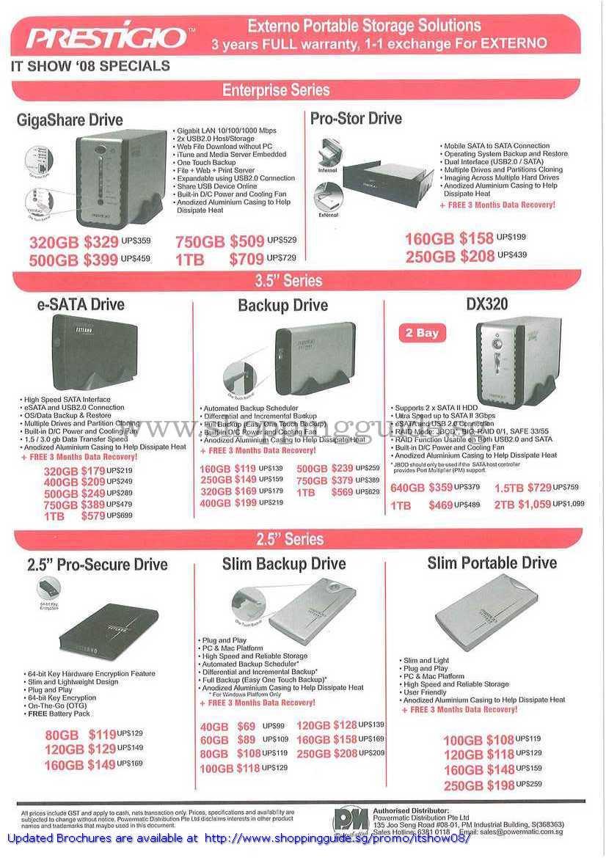 IT Show 2008 Price List Image Brochure Of Prestigio External Drive GigaShare Pro Stor ESata