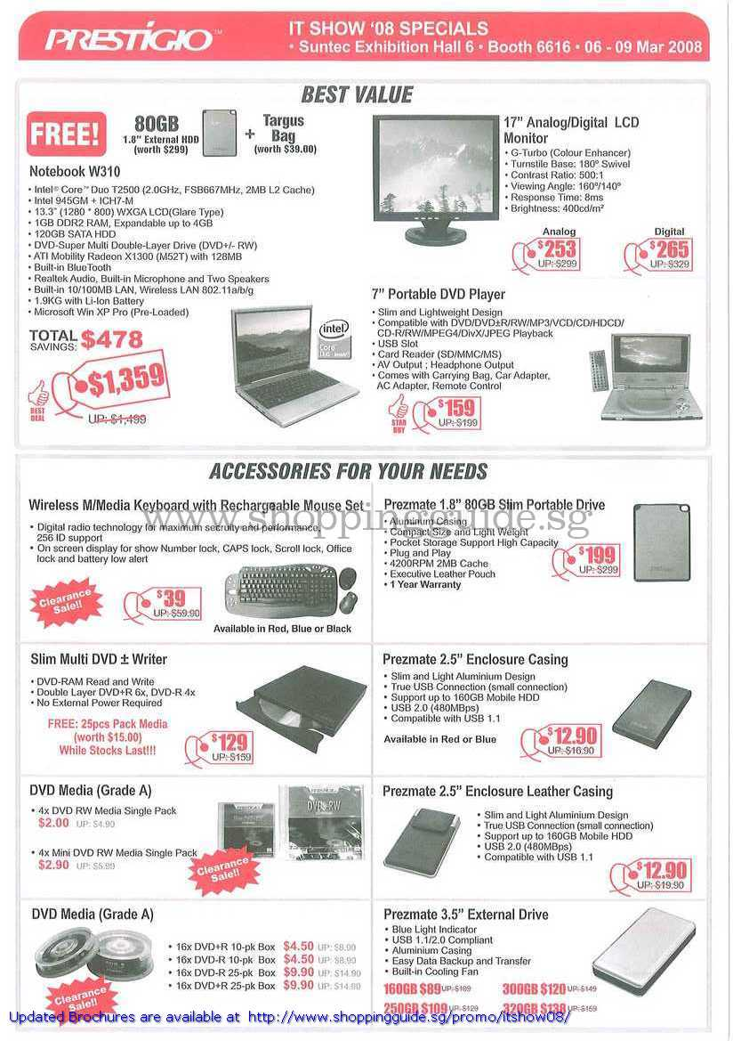 IT Show 2008 price list image brochure of Prestigio Notebook W310 LCD Monitor Portable DVD Player Keyboard Writer Enclosure Media