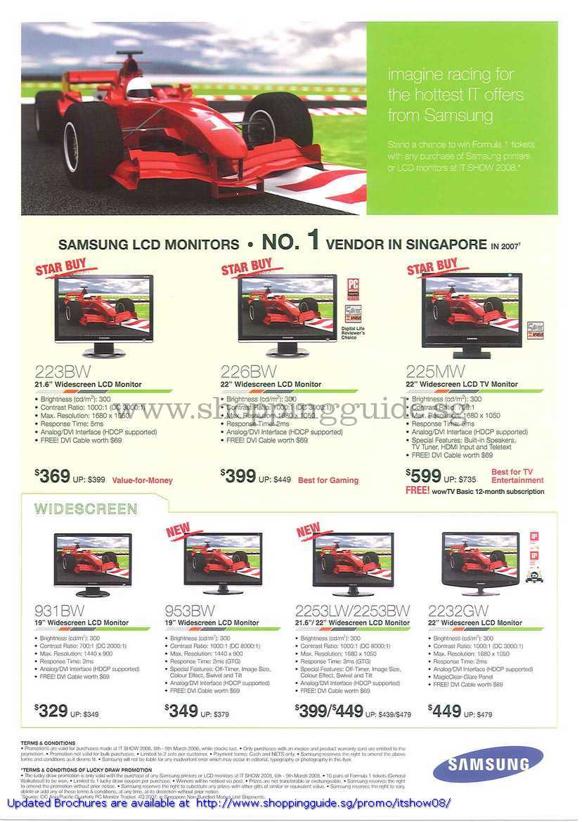 IT Show 2008 price list image brochure of Samsung LCD Monitors 223BW 226BW 225MW 931BW 953BW 2253LW 2253BW 2232GW