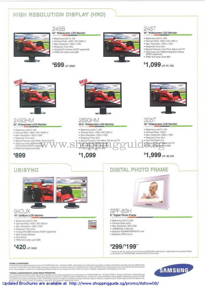 IT Show 2008 price list image brochure of Samsung LCD Monitors 245B 245T 2493HM 2693HM 305T 940UX Digital Photo Frame SPF-83H