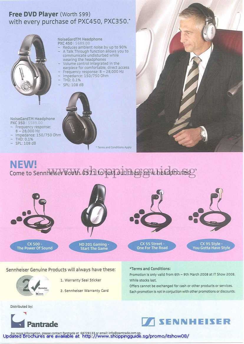 IT Show 2008 price list image brochure of Sennheiser Headphone NoiseGard PXC 450 350 CX 500 HD 201 CX 55 CX 95