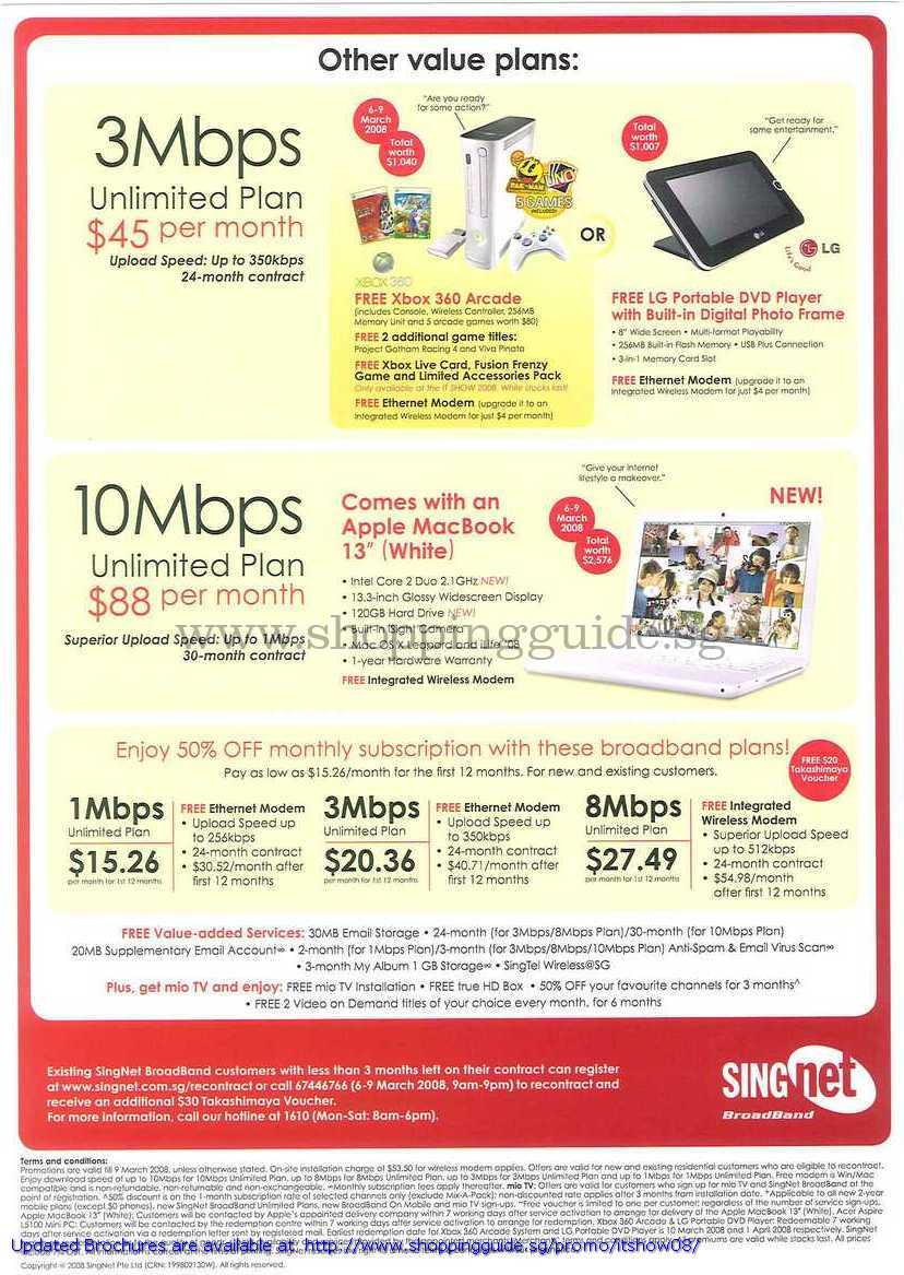 IT Show 2008 price list image brochure of Singtel Singnet Broadband Xbox 360 LG DVD Player Apple Macbook