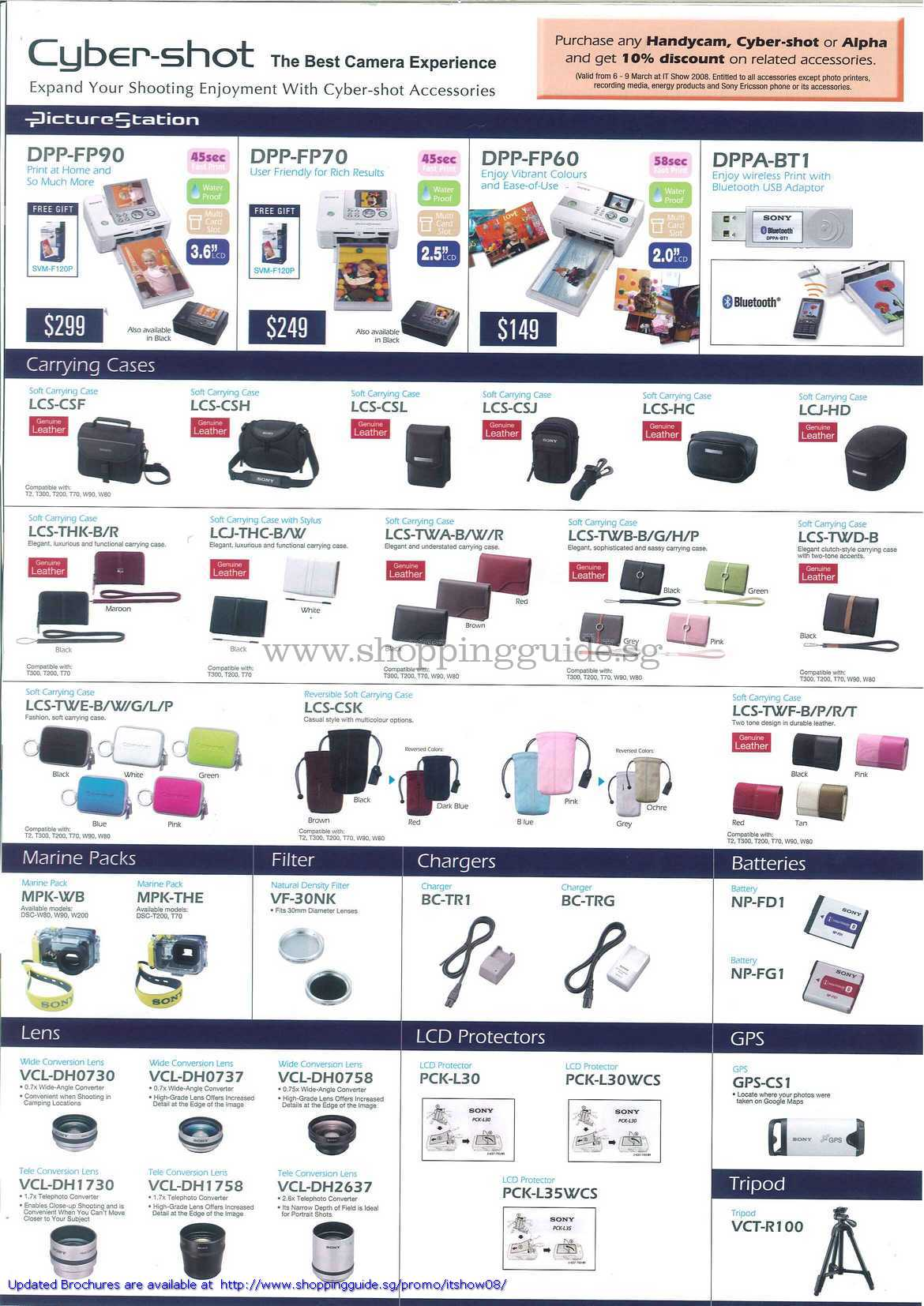 IT Show 2008 price list image brochure of Sony Cybershot Picture Station DPP LCS Marine Packs Filter Chargers Batteries Lens GPS Tripod