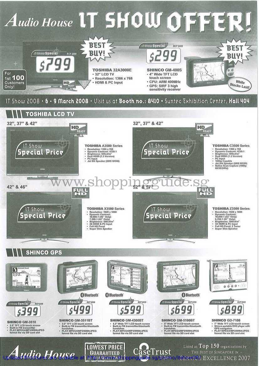 IT Show 2008 price list image brochure of Toshiba LCD TV A3500 X3500 C3500 Z3500 Shinco GPS GM