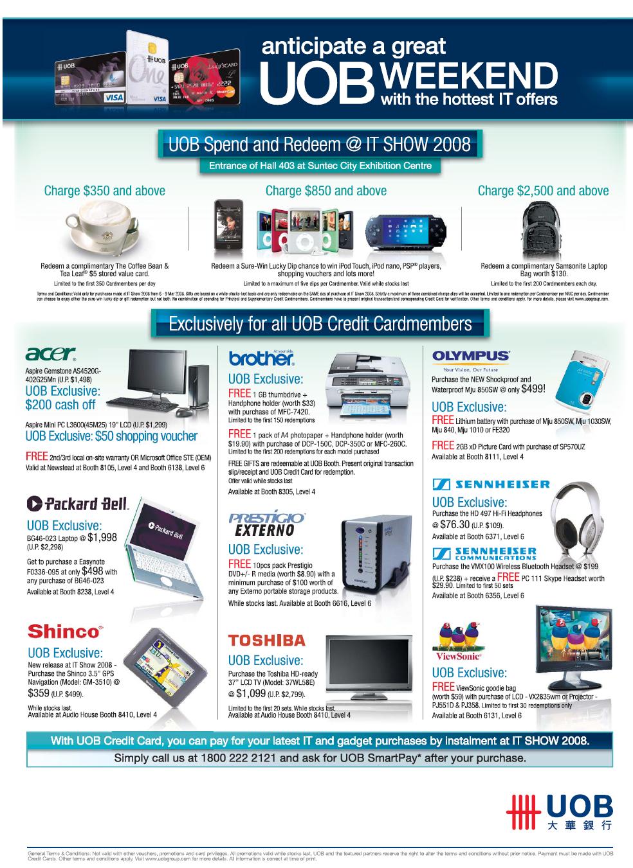 Uob Credit Card Redeem Promotions It Show 2008 Price List Brochure Flyer Image