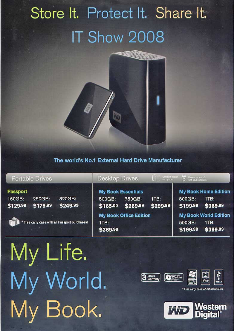 IT Show 2008 price list image brochure of Western Digital WD Portable Drive My Book Essentials Home Office World Passport
