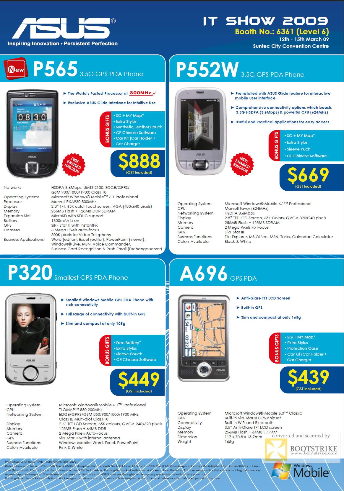 IT Show 2009 price list image brochure of ASUS PDA Phones
