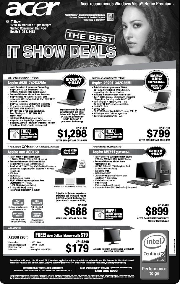 IT Show 2009 price list image brochure of Acer Laptops (coldfreeze)