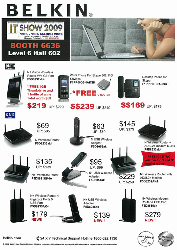 IT Show 2009 price list image brochure of Belkin Wireless USB Adapter Modem ADSL (tclong)