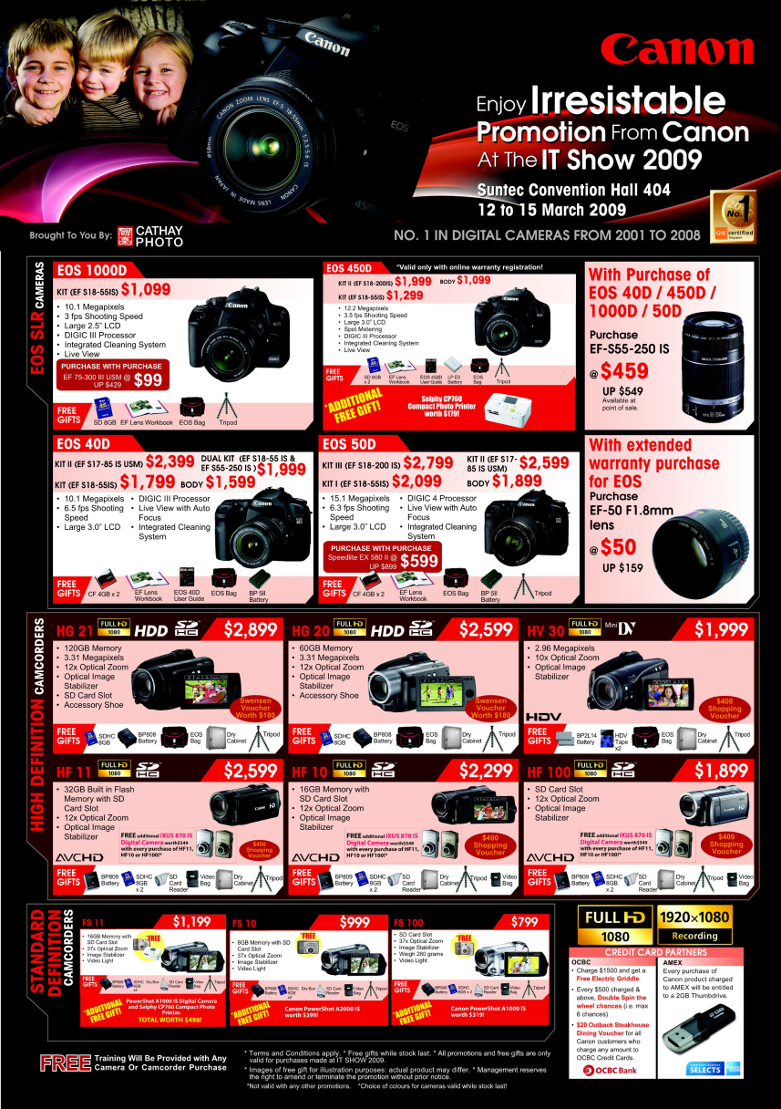 Camera Canon Cameras Dslr Prices canon camera dslr camcorders it show 2009 price list brochure image of camcorders