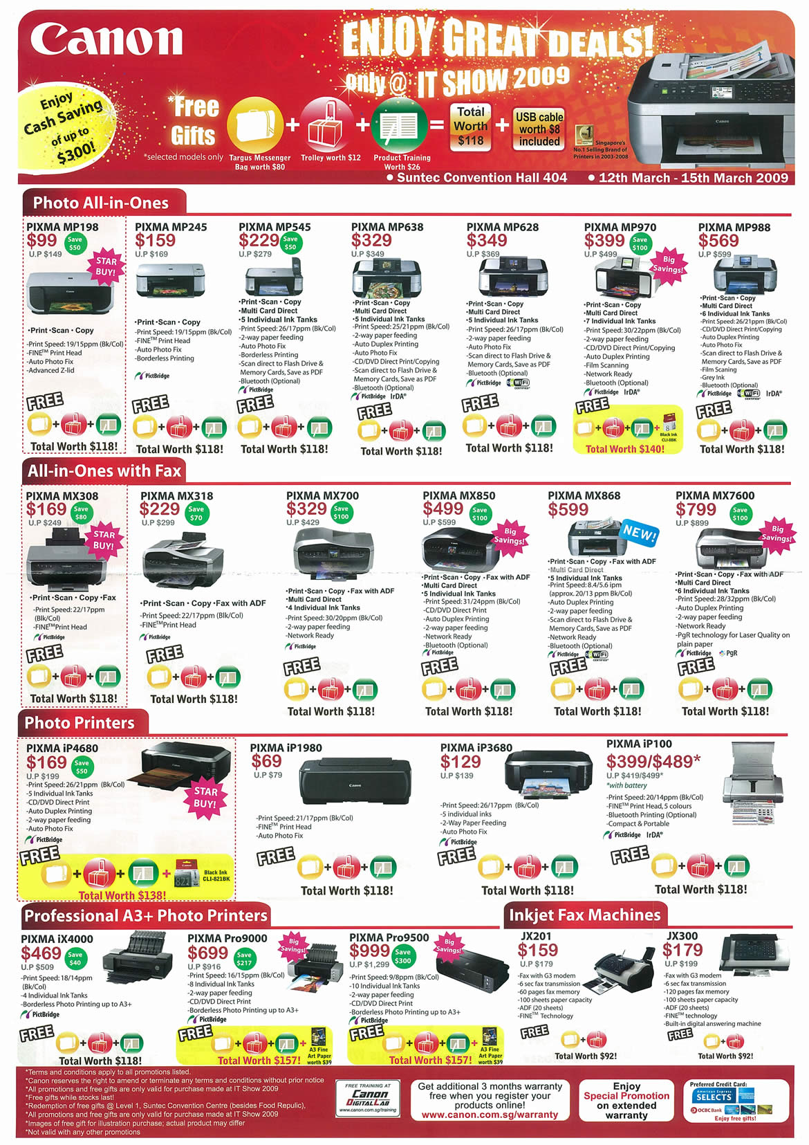 IT Show 2009 price list image brochure of Canon Inkjet Pixma Printers Professional (tclong)