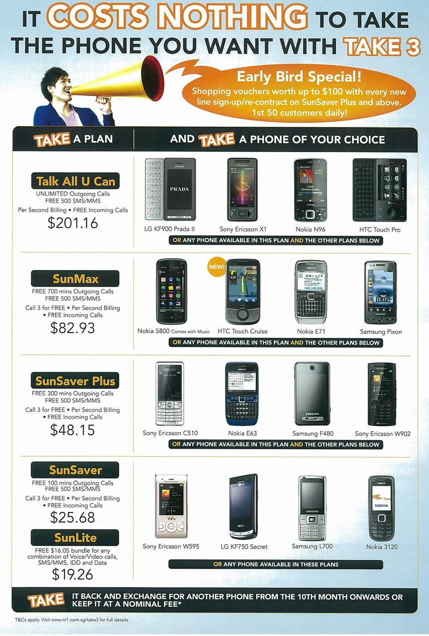 IT Show 2009 price list image brochure of M1 Plan Phones Tclong