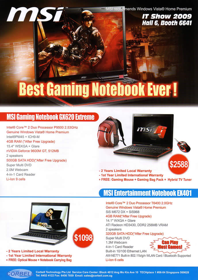 IT Show 2009 price list image brochure of MSI 2 Notebook VR-Zone