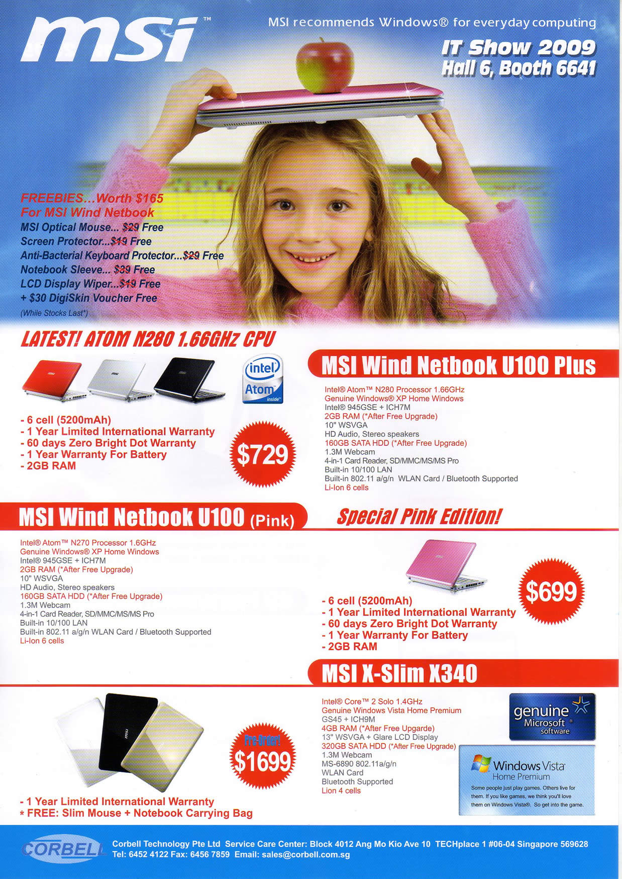 IT Show 2009 price list image brochure of MSI P1 Wind X-Slim VR-Zone