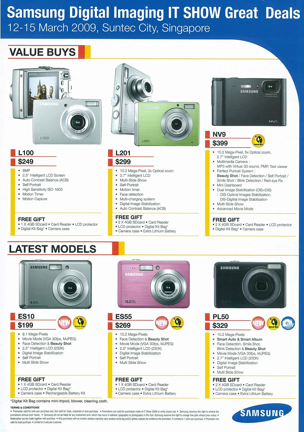IT Show 2009 price list image brochure of Samsung Digital Cameras (tclong)