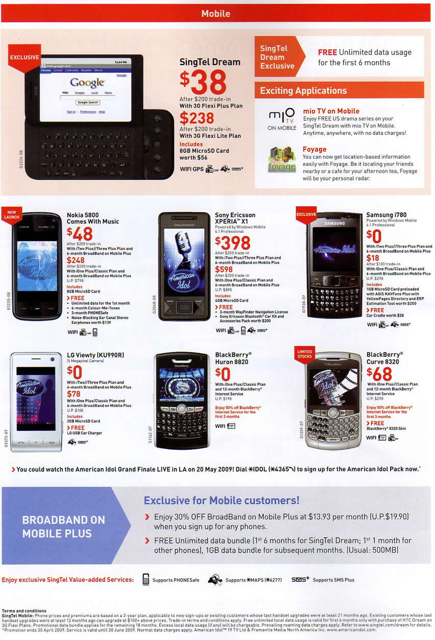 IT Show 2009 price list image brochure of Singtel Mobile (coldfreeze)