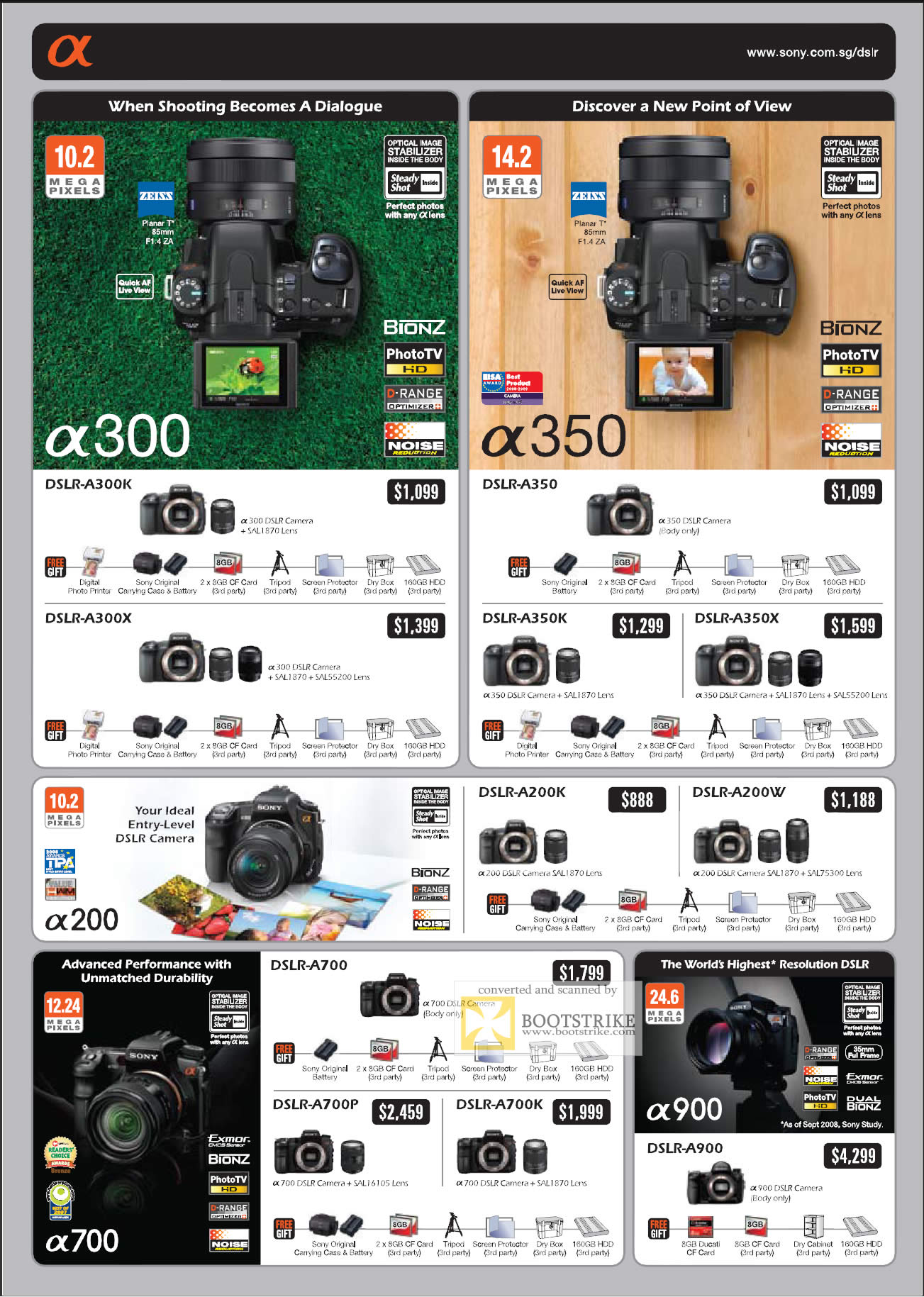 Camera List Of Sony Dslr Camera With Price sony alpha camera dslr it show 2009 price list brochure flyer image of dslr