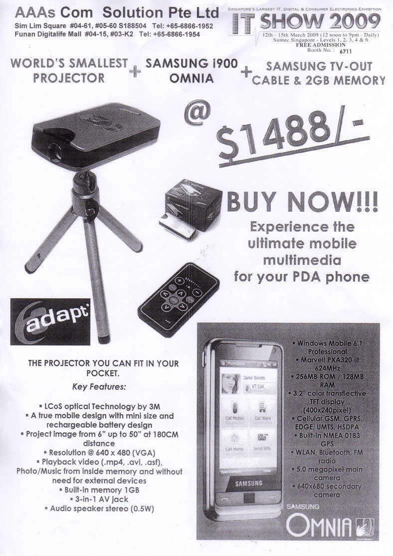IT Show 2009 price list image brochure of Aaa Projector Omnia (coldfreeze)
