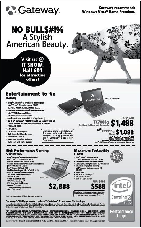 IT Show 2009 price list image brochure of Gateway Laptops (coldfreeze)