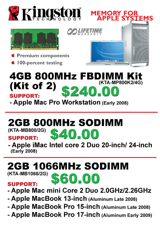 IT Show 2009 price list image brochure of Kingston For Apple (convergent)