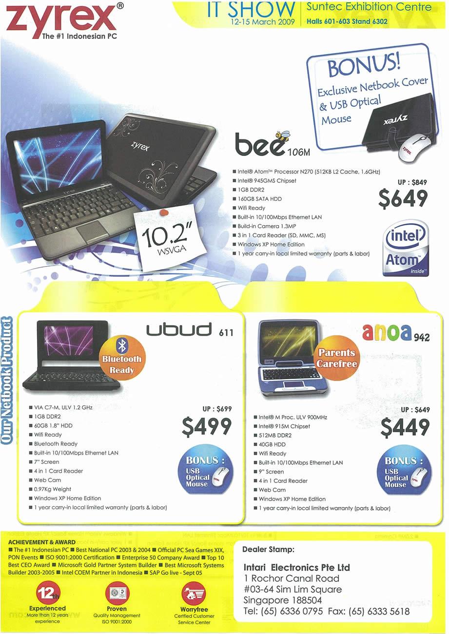 IT Show 2009 price list image brochure of Zyrex Bee Ubud Anoa Tclong