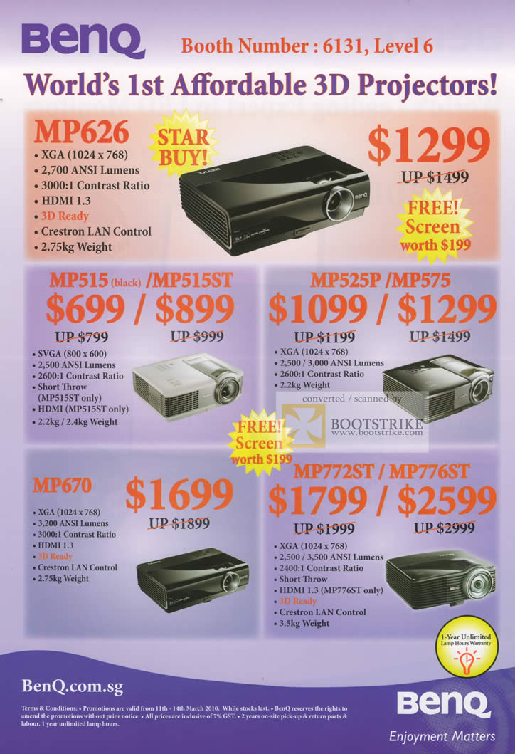 IT Show 2010 price list image brochure of BenQ Projectors 3D MP626 MP515 MP515ST MP525P MP575 MP670 MP772ST MP776ST