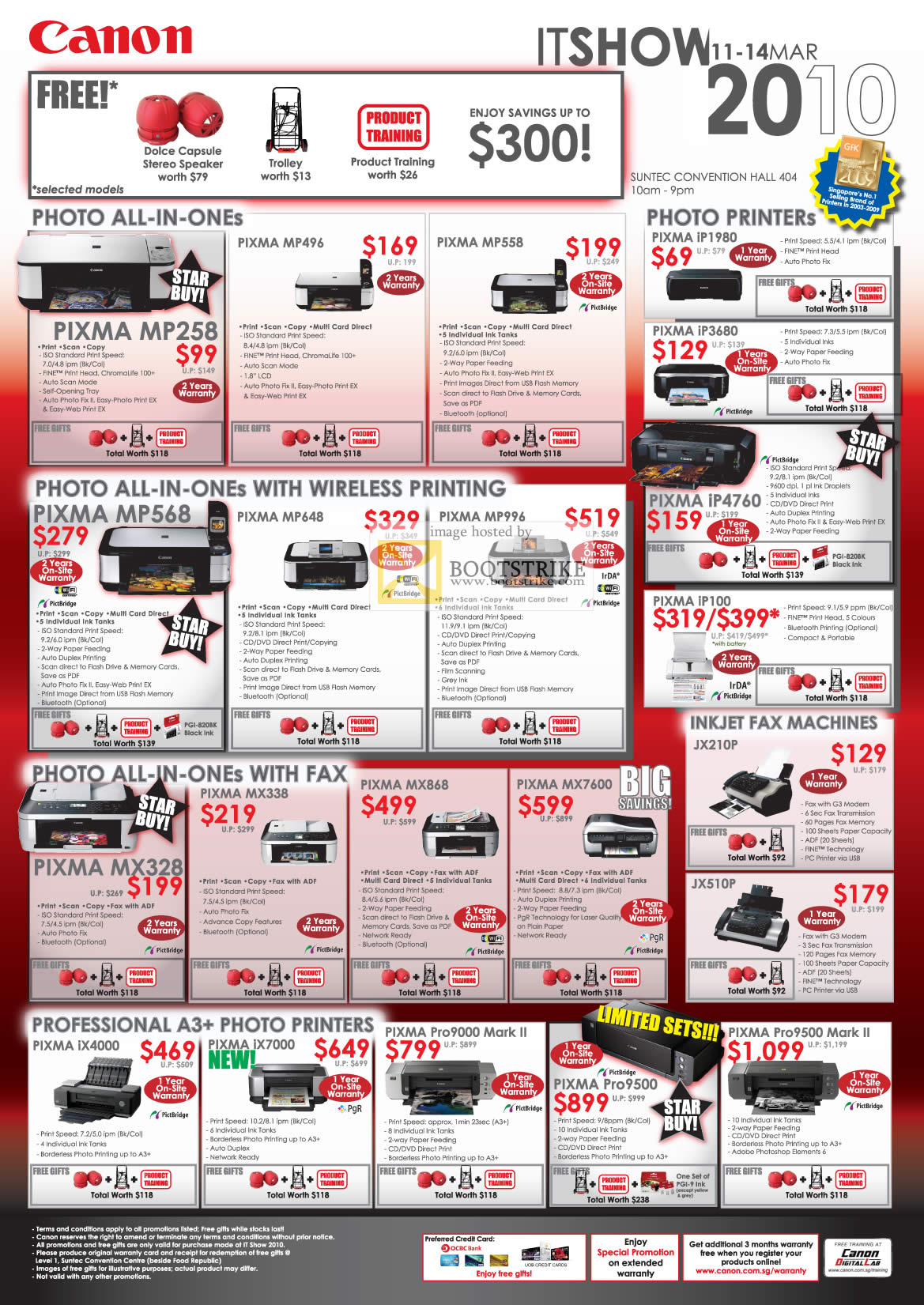IT Show 2010 price list image brochure of Canon Inkjet Printers Pixma All In One Wireless Printing Photo Fax Professional A3
