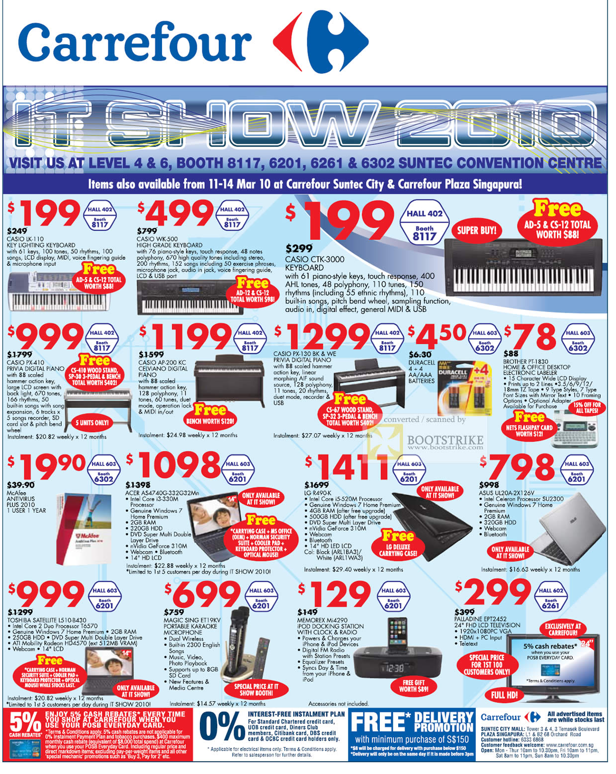 IT Show 2010 price list image brochure of Carrefour Casio Keyboard Digital Piano Labeler Notebooks Aeer LG ASUS Toshiba Palladine LCD TV
