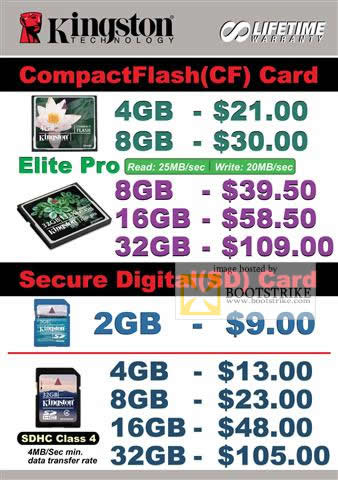 IT Show 2010 price list image brochure of Convergent Systems CompactFlash CF Card Secure Digital Memory Cards SDHC