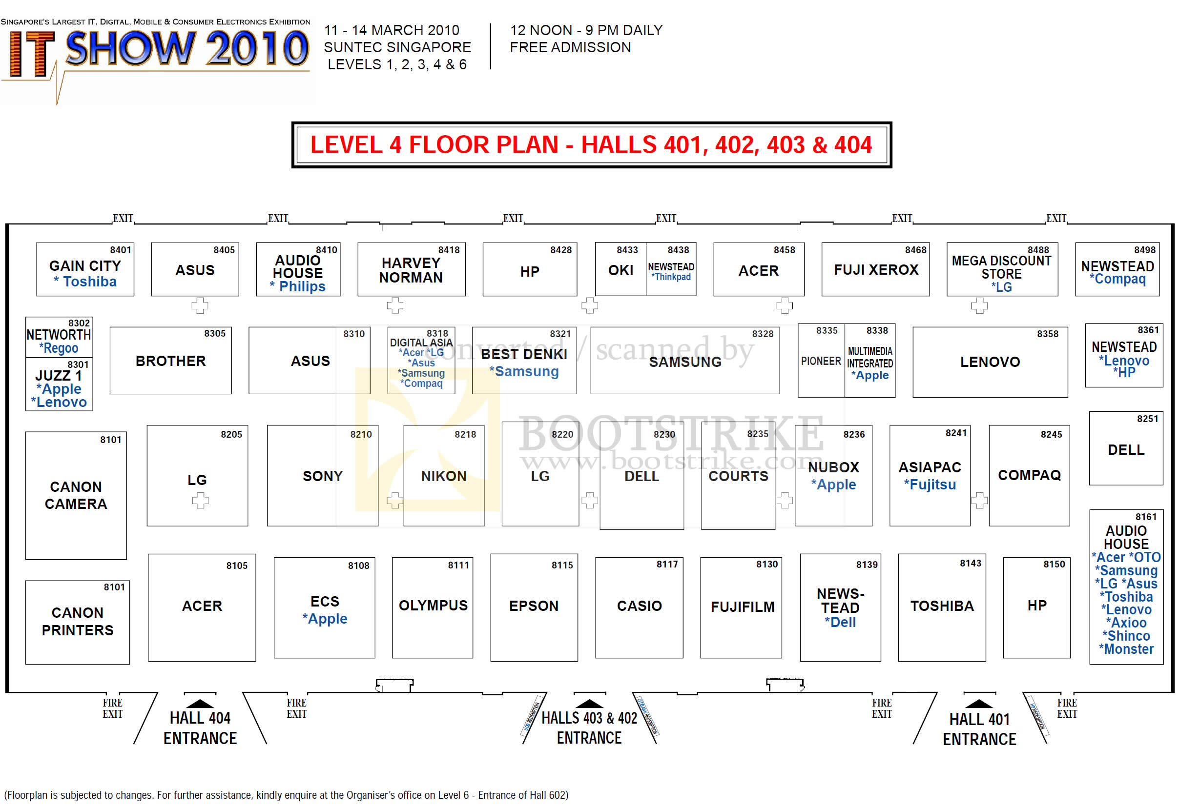 IT Show 2010 price list image brochure of Floor Plan Map Suntec Level 4