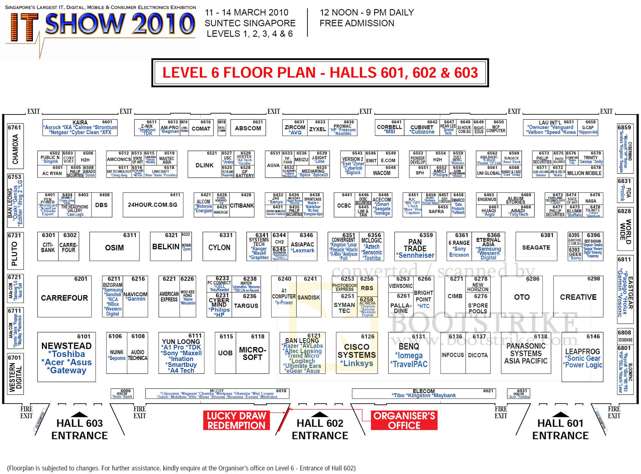 IT Show 2010 price list image brochure of Floor Plan Map Suntec Level 6