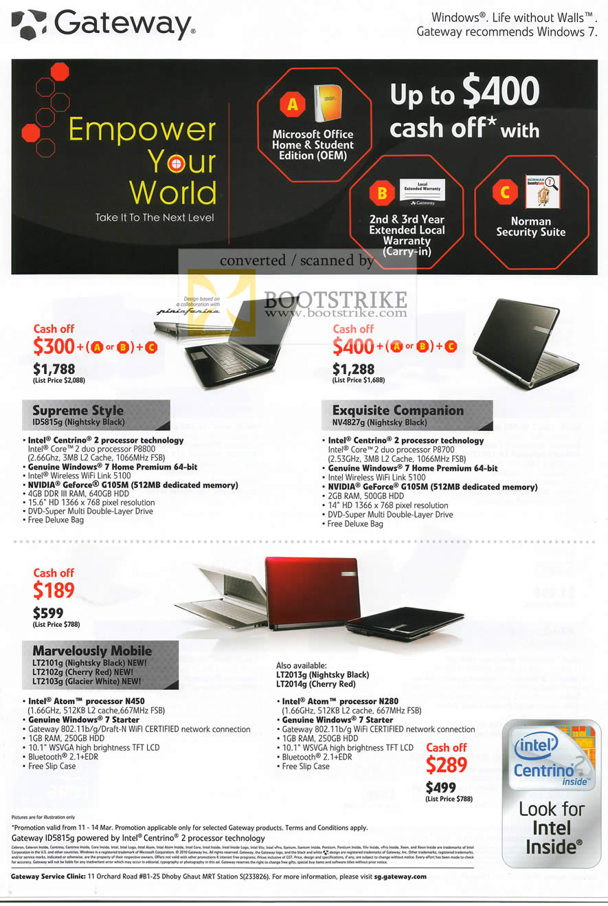 IT Show 2010 price list image brochure of Gateway Notebooks ID5815g NV4827g LT2101G LT2102g LT2103g LT2013g LT2014g