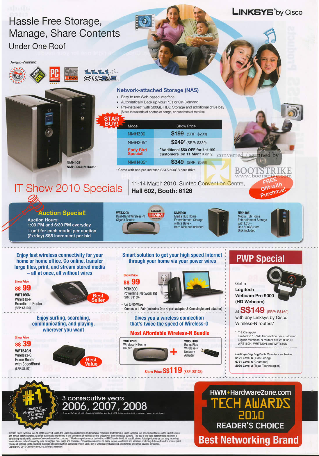 IT Show 2010 price list image brochure of Linksys NAS NMH405 NMH300 NMH305 Router WRT160N Powerline PLTK300 WRT54GH WRT54GL WRT160NL Wireless N 2