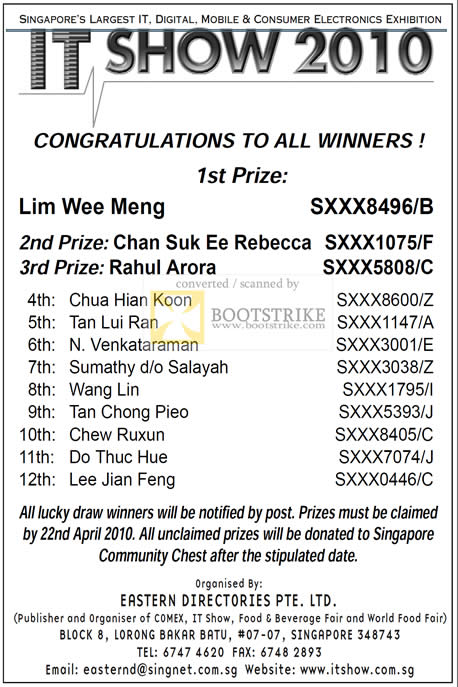 IT Show 2010 price list image brochure of Lucky Draw Results