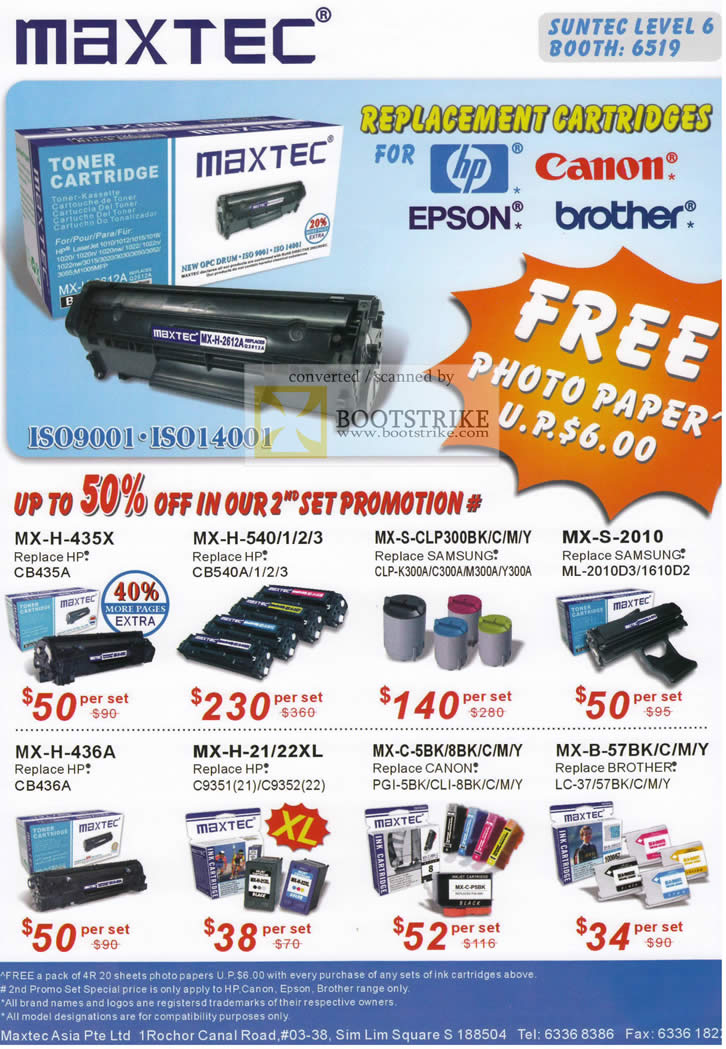 IT Show 2010 price list image brochure of Maxtec Replacement Toner Cartridges HP Canon Epson Brother