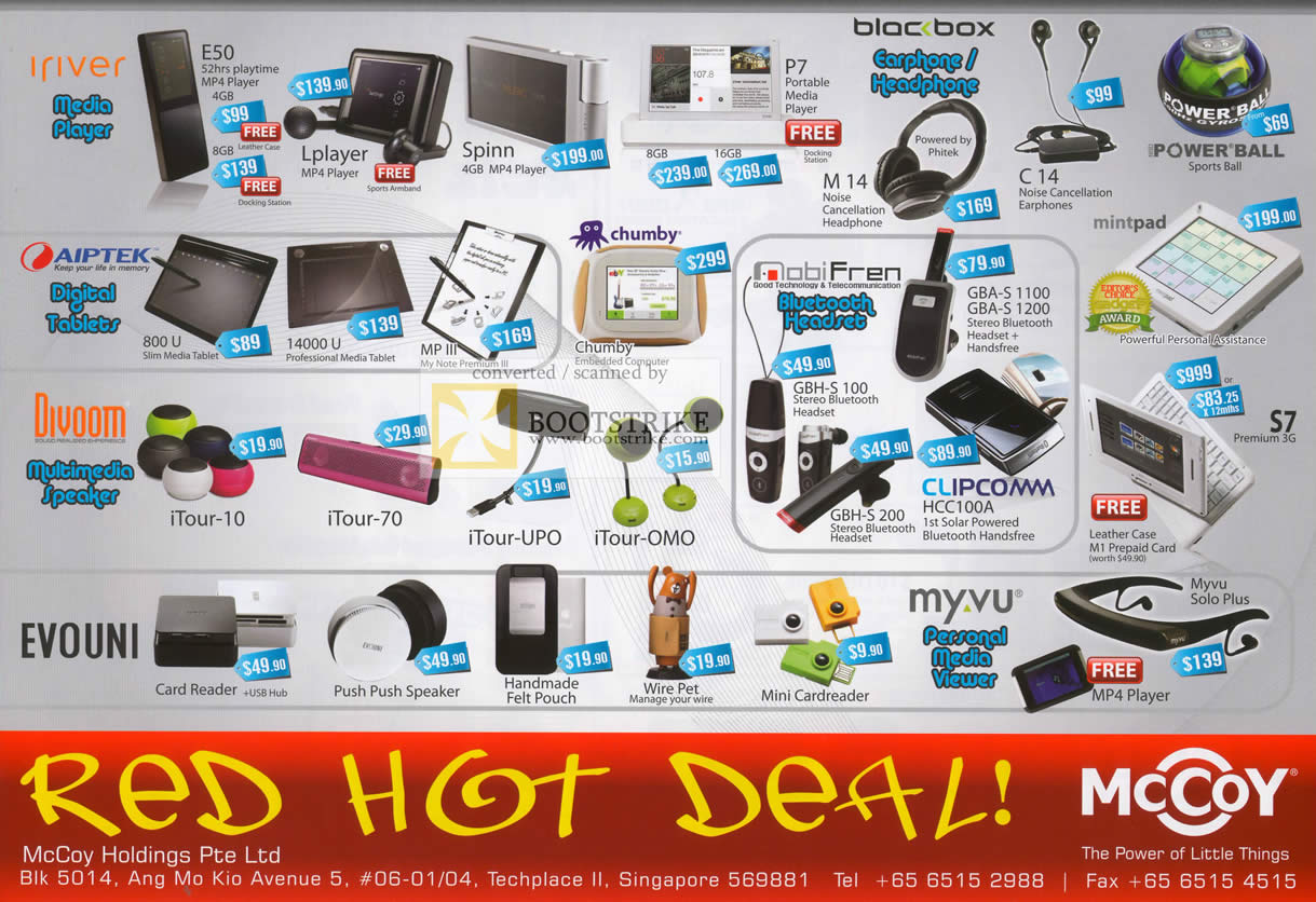 IT Show 2010 price list image brochure of Mccoy Iriver Meida Player Bloc Box Aiptek Tigital Tablets Divoom Evouni Myvu