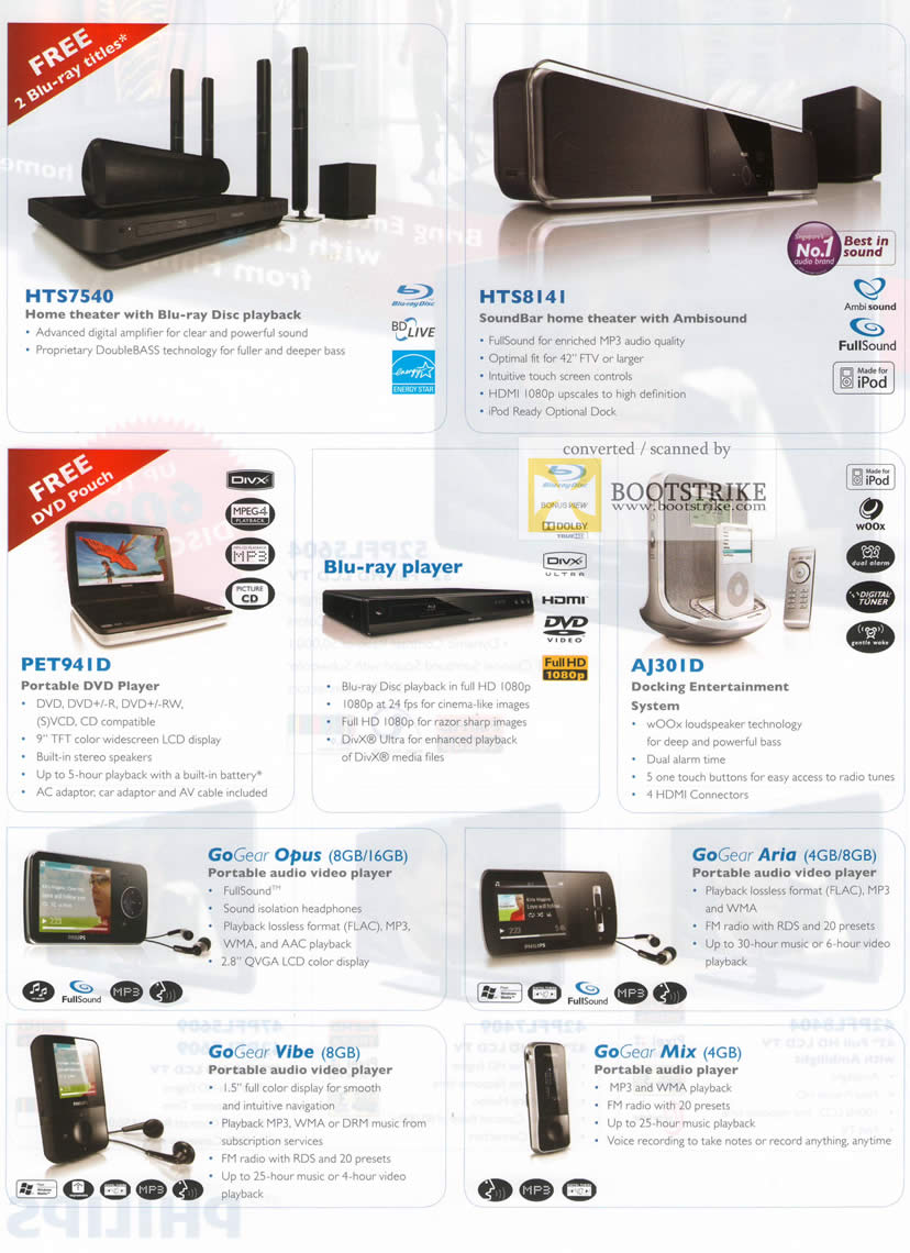 IT Show 2010 price list image brochure of Philips Home Theater HTS 7540 8141 DVD Player Portable Blu Ray AJ301D GoGear Opus Aria Vibe Mix