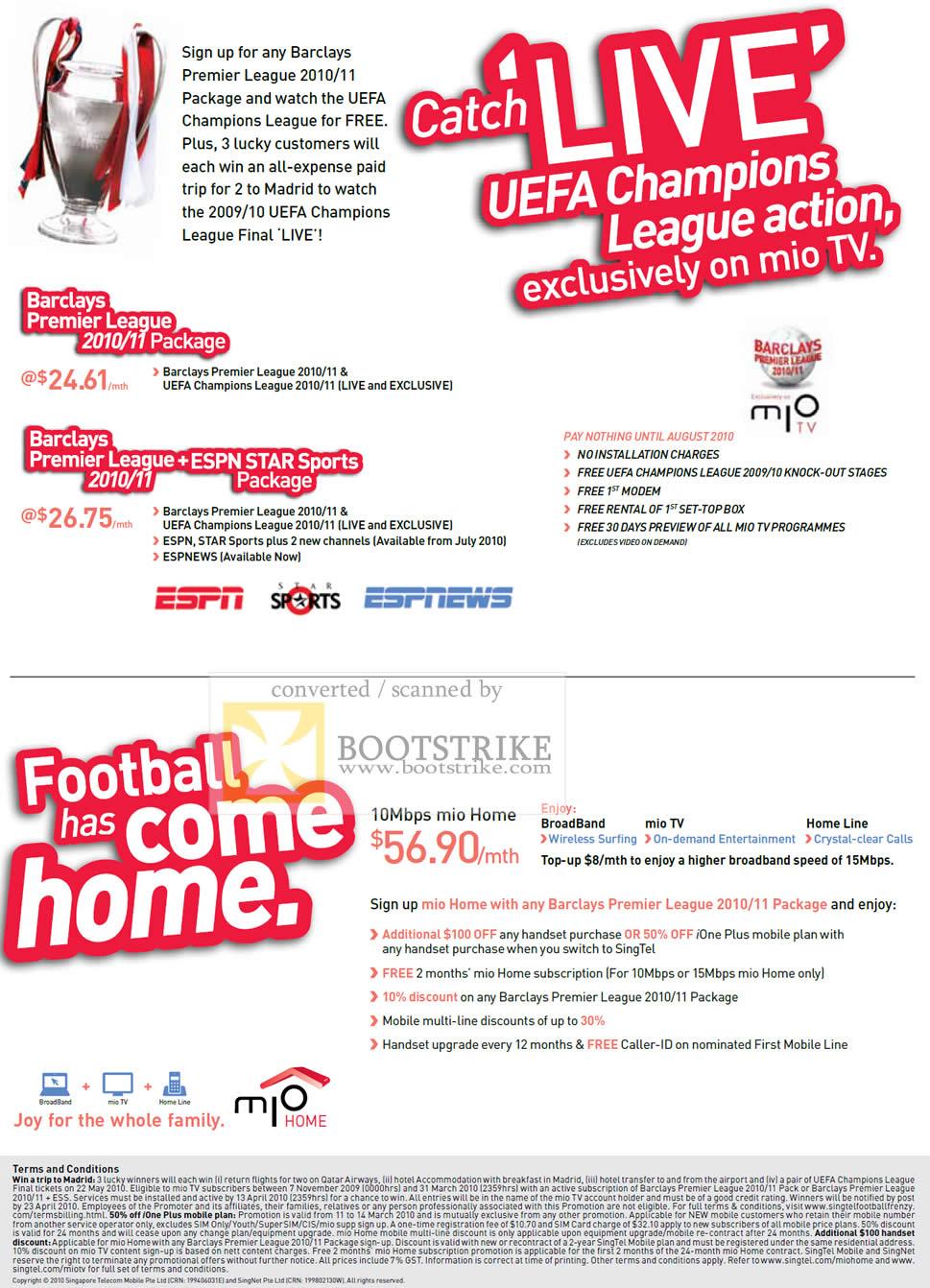 IT Show 2010 price list image brochure of Singtel Mio TV Barclays Premier League UEFA Champions League Mio Home