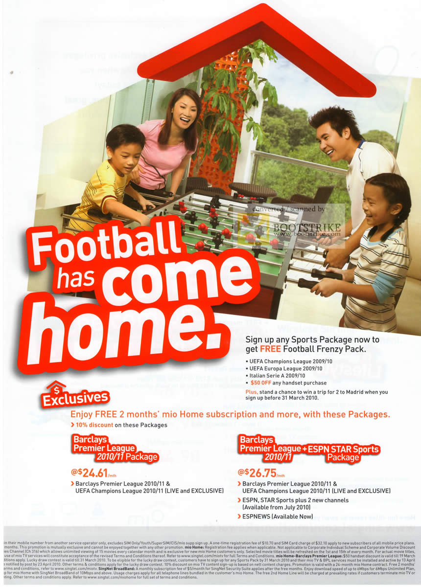 IT Show 2010 price list image brochure of Singtel Mio TV Football Sports Package Frenzy Pack Barclays Premier League ESPN Star Sports ESPNews