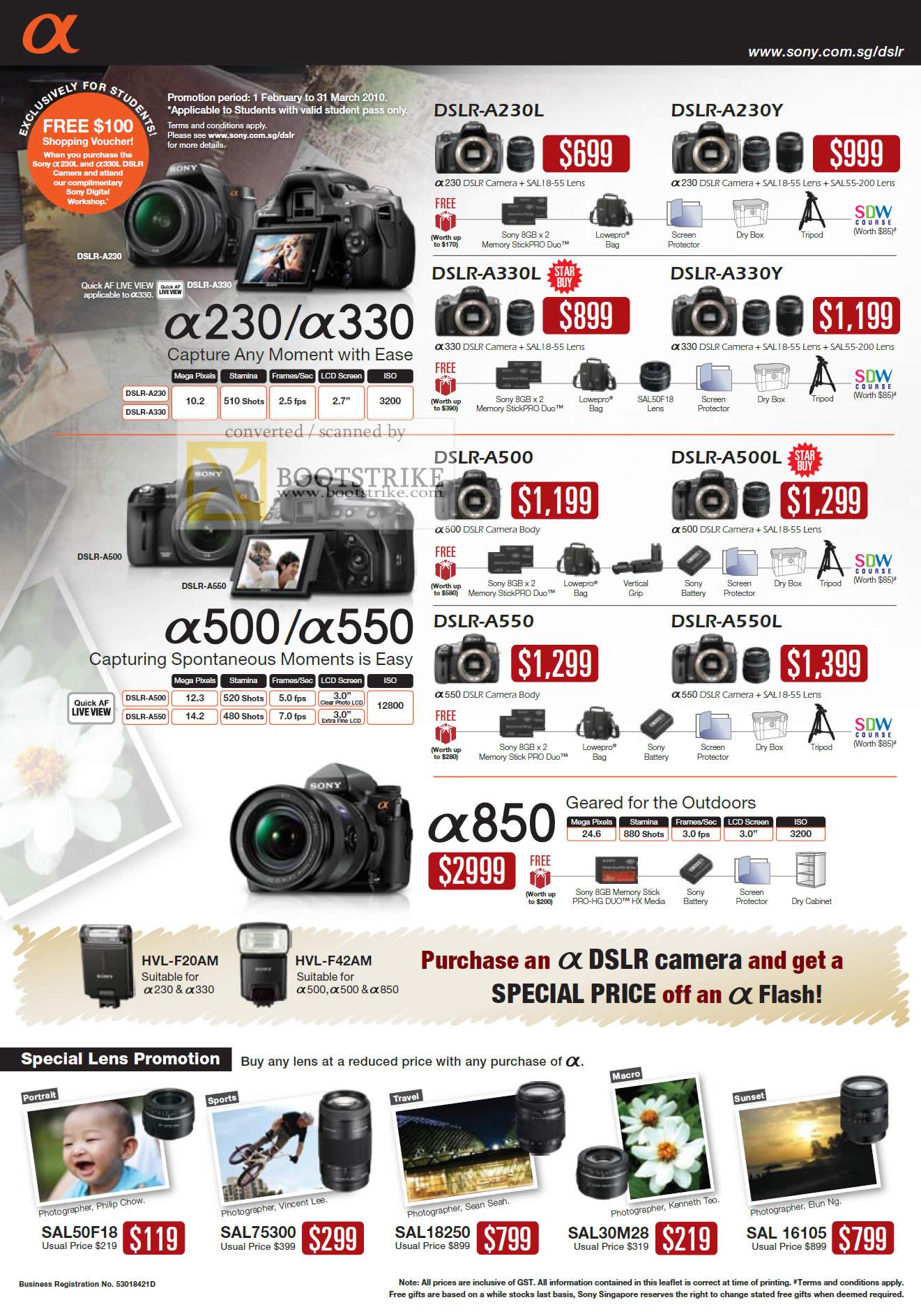 Sony Alpha Digital Cameras DSLR A230L A230Y A330L A330Y ...