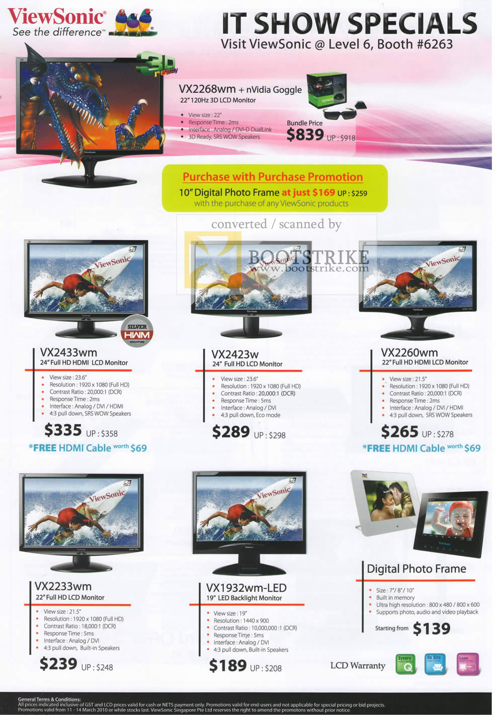 IT Show 2010 price list image brochure of Viewsonic LCD Monitors 3D VX2268wm VX2433wm VX2423w VX2260wm VX2233wm VX1932wm LED Digital Photo Frame