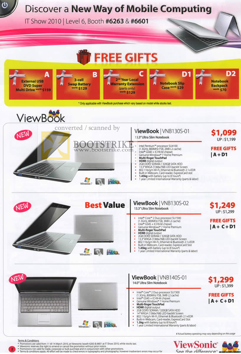 IT Show 2010 price list image brochure of Viewsonic Notebooks ViewBook VNB130S 01 02 VNB140S