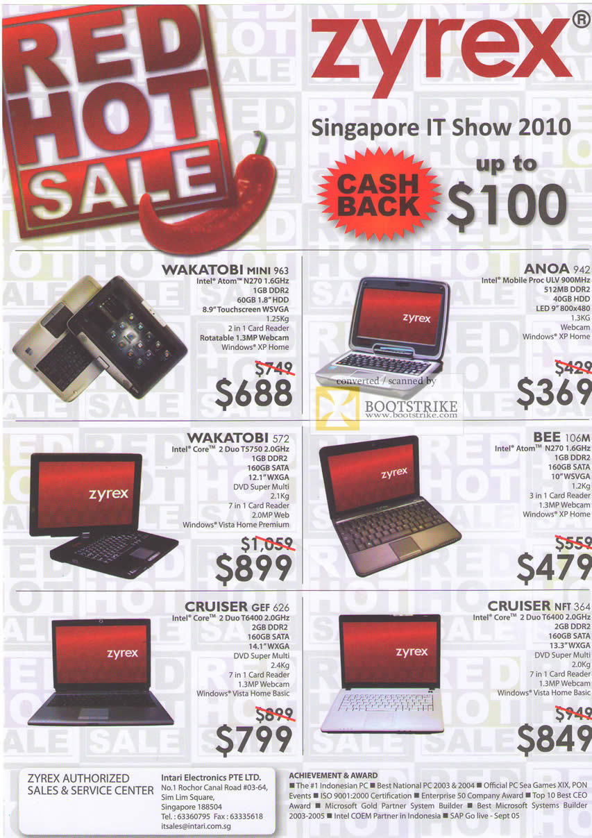 IT Show 2010 price list image brochure of Zyrex Notebooks Wakatobi Mini 963 572 Anoa 942 Bee 106M Cruiser GEF 626 NFT 364