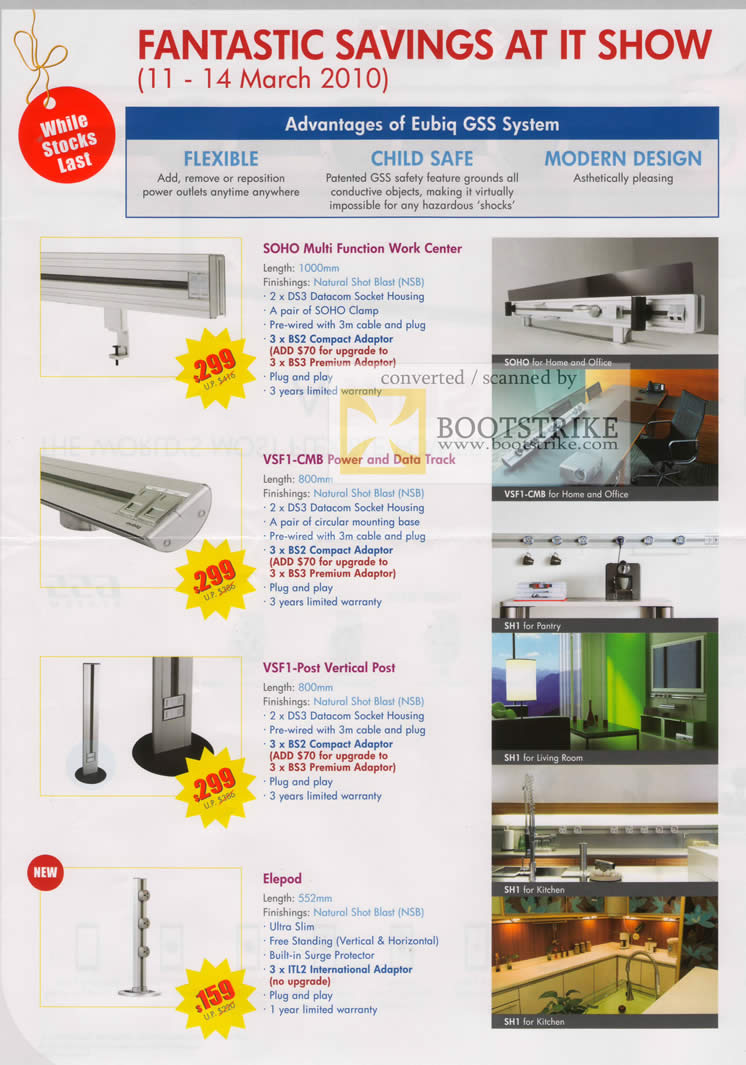 IT Show 2010 price list image brochure of Eubiq GSS System SOHO Multi Function Work Center VSF1 CMB Vertical Post Elepod