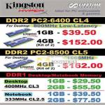 Systems Kingson DDR2 PC2 Desktop Memory DDR1 Notebook Memory