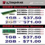 Systems Kingston DDR2 Desktop Memory Notebook Memory PC2