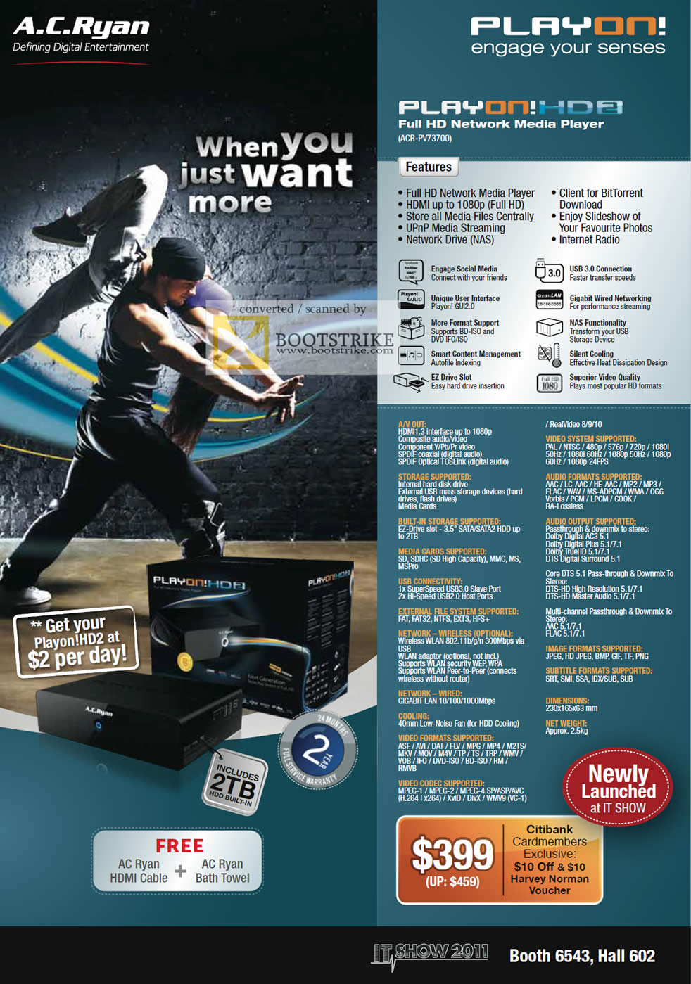 IT Show 2011 price list image brochure of AC Ryan Play On HD2 Network Media Player ACR-PV73700